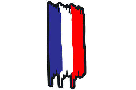 paint strokes: France National Flag Illustration in raw paint strokes. Abstract look. Stock Photo