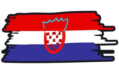 paint strokes: Croatia National Flag Illustration in raw paint strokes. Abstract look.