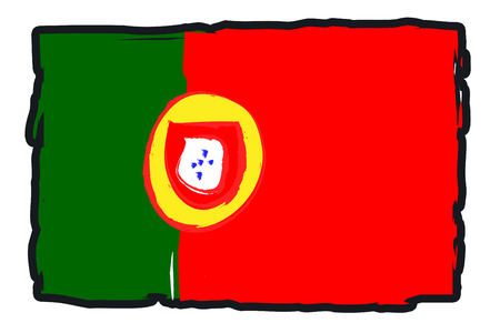 footbal: Portugal National Flag Illustration in raw paint strokes. Abstract look.