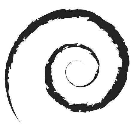 rough: Spiral illustration in rough raw stroke in black and white.