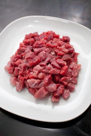 chunks: Chopped meat chunks on a plate