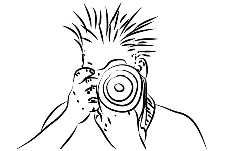 dslr: Man holding DSLR camera illustration in black and white color.