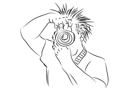 dslr: Man holding DSLR camera vertical  illustration in black and white color.