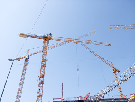 Munich, Germany, July 25, 2018. Cranes at a construction site in munich