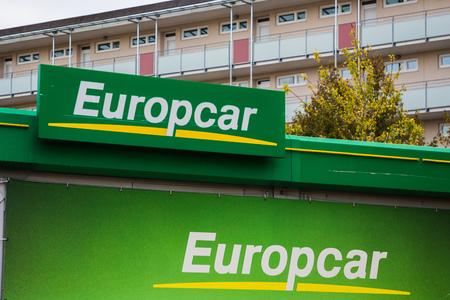 Munich, Germany, Bavaria - October 11 2018. Europcar sign at rental booth.