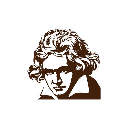 composer Ludwig van Beethoven. vector portrait