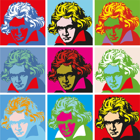composer Ludwig van Beethoven. vector portrait pop-art Vettoriali