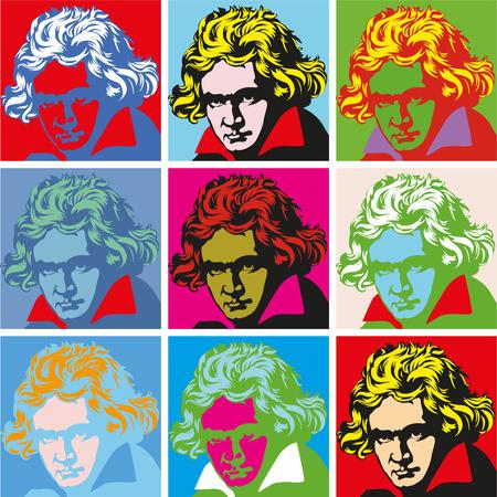 kompozytor Ludwig van Beethoven. wektor portret pop-art