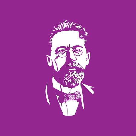 Retratos de la famosa figura histórica rusa: Anton Pavlovich Chejov-escritor, novelista y dramaturgo ruso. Un clásico de la literatura mundial. Ilustración de vector