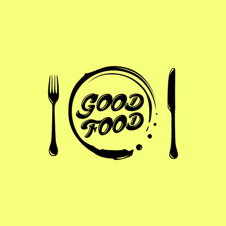 Good food. home cooking fun craft package with products and a human face. In the hands of a knife and fork.