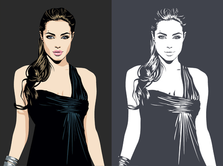 02 DE MARZO DE 2019: Una ilustración vectorial de un retrato de la actriz, cineasta y humanitaria estadounidense Angelina Jolie Pitt.