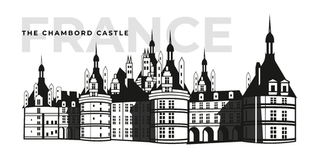 French Chateau Chambord castle building. Architecture or medieval palace at France, old fortress or retro mansion exterior view. Baroque heraldic monument and historical book , citadel banner