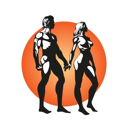 Notion romantique. Les athlètes homme et femme se tiennent debout et se tiennent la main. Regardez au loin. De beaux corps forts. Boris Vallejo