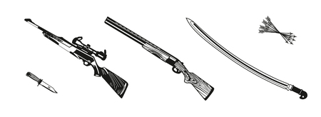 Vector illustration huntings rifle colored, black and white, silhouette Illustration