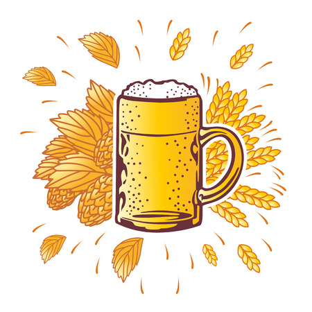 shield beer mug with hop branches. vector