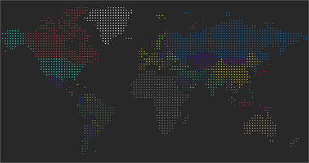 Vector Dotted World Map. A political map of the World. Round dots Standard-Bild - 124455771