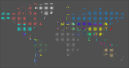 Vector Dotted World Map. A political map of the World. Round dots Standard-Bild - 124455785