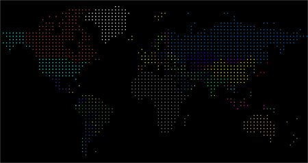 Vector Dotted World Map. A political map of the World. Round dots