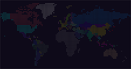Vector Dotted World Map. A political map of the World. Square dots Stock Photo