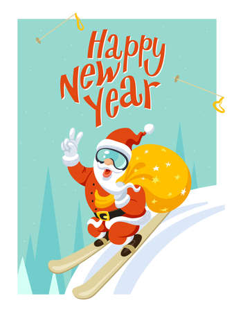 XMas Greeting Card. Funny Christmas Poster New year Illustration, card. Santa Claus with his sackful of Christmas presents on Skis. New Year Vector Illustration. Trendy flat design, simple image.Winter sport. Vector humorous Illustration. With text lettering Happy New Year