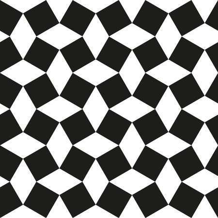 pattern of rhombuses and squares. Black-white geometric ornament. Seamless background. Italian layout tile pattern