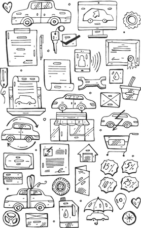 Hand draw vector Doodle icons set.Selling cars on internet and in car stores.Design doodle elements for banner, flyer, business, card, poster. Illustration