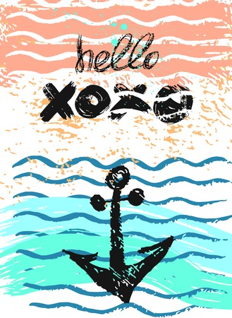 water waves: Hand drawn vector artistic textured card with anchor and greeting Hello lettering.Sea anchor background,waves vector card,waves lines,waves water,waves beach card design template.