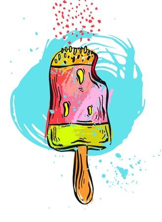 carretto gelati: Disegnata a mano vettore astratto texture gelato crema card.Ice illustrazione, cono gelato, gelato paletta, gelato sundae, modello di gelato, gelato fatto in casa, la tazza del gelato, gelati sfondo.