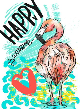Hand drawn abstract textured vector summer fun card template with pink flamingo,red heart and handwritten lettering Happy Summer.Design element for cruise card,greeting,summer party,summer camp