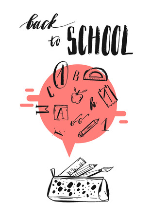 phase: Hand drawn illustration with handwritten ink lettering phase Back to school with school supplies set isolated on white background.