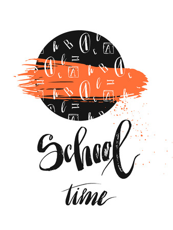 Hand drawn abstract card template with handwritten school time phase
