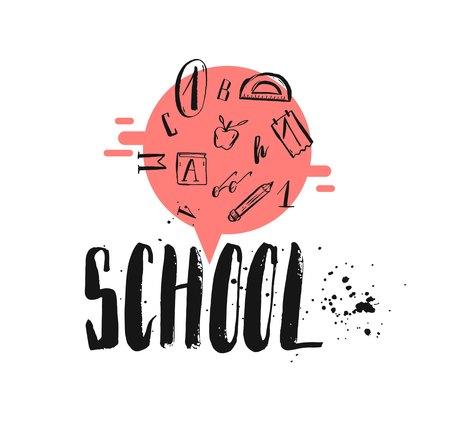 Illustration Der Bunten Zeit Schule Schriftzug Zitat Auf Bunte ...