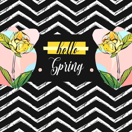 Hand drawn vector abstract creative universal unusual Hello spring greeting card illustration with colorful graphic flowers in pastel colors isolated on black and white zig zag line chevron background
