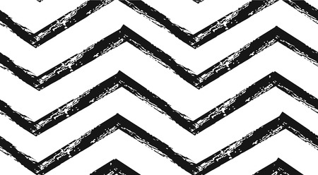 Hand drawn vector abstract rough geometric monochrome seamless zig zag chevron pattern in black and white colors.Hand made grunge brush painted texture.