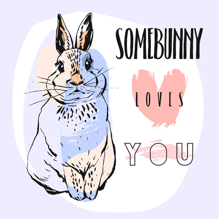 Hand drawn vector abstract collage funny poster with rabbit and calligraphy quote Somebunny loves you in pastel colors isolated on white background.Easter bunny background.Cute rabbit illustration.