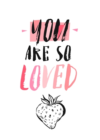 Vector hand drawn greeting card - You are so loved. Black calligraphy isolated on white background with pink heart. Hand lettering illustration. Valentines Day design Illustration