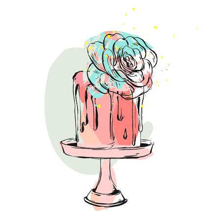 손으로 그려진 된 벡터 귀여운 생일 또는 웨딩 콜라주 그림 케이크와 즙이 많은 꽃 장식 케이크 스탠드에 절연 .Design 결혼식, 생일, 날짜 카드, 생일, fla 일러스트