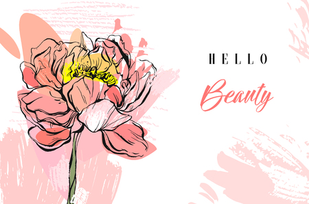 Hand made vector abstract textured trendy creative universal collage seamless pattern with floral peony motif isolated on white background with different textures and shapes.Modern spring design. Illustration