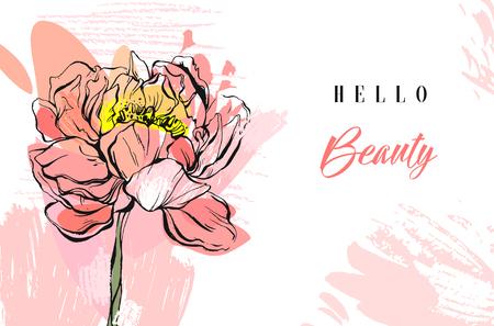Hand gemaakt vector abstract geweven trendy creatief universeel collage naadloos patroon met bloemenpeio motief dat op witte achtergrond met verschillende texturen en vormen wordt geïsoleerd. Modern de lenteontwerp.
