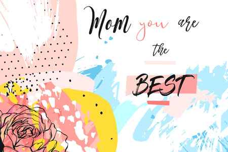 Hand drawn vector abstract creative Mothers day greeting header with spring flowers collage,artistic painted freehand textures and Mom you are the best calligraphy quote isolated on white background