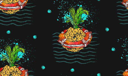 Hand drawn vector abstract tropical seamless pattern with pineapple in red lifebuoy on sea waves,freehand textures isolated on black background.Summer time concept, trendy hipster fashion fabric.