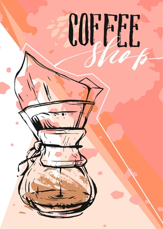 Hand made vector abstract textured Coffee graphic illustration of coffee maker and handwritten calligraphy phase Cup of hot coffee on pastel background.Design for shops,business,decoration,poster