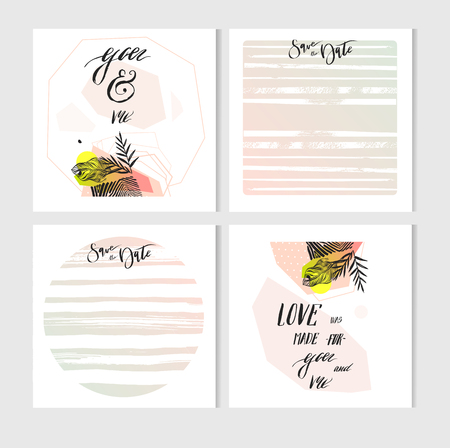 Hand made vector abstract graphic Save the Date tribal exotic unusual cards set collection.