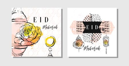 Hand made vector abstract freehand textured islamic cards set template with Eid Mubarak calligraphy quote,moon,stars,flowers,latern and freehand textures in pastel colors isolated on white background