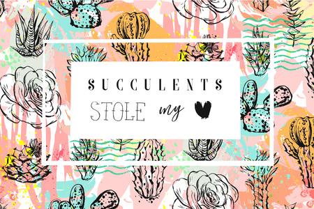 Hand getrokken vector abstracte creatieve koptekst met vetplanten bloem, cactussen plant en moderne kalligrafie citaat Vetplanten stal mijn hart in pastel kleur geïsoleerd op een witte achtergrond. Trouw, bewaar de datum