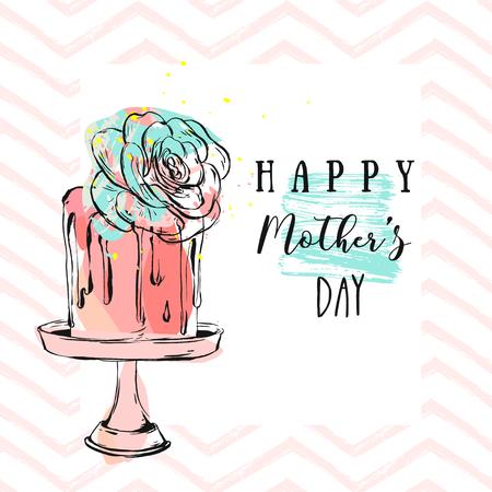 Hand getrokken vector abstracte wenskaart met Happy Mothers day Kalligrafie en cake op stand met succulente bloem, zigzag ornament. Vrouwelijk ontwerp voor kaart, uitnodiging, bruiloft, verjaardag, bewaar de datum Stock Illustratie