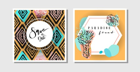 Hand drawn vector abstract creative collage freehand textured save the date greeting cards collection set template with succulent flower and cactus plants isolated.Wedding,save the date,birthday,rsvp Illustration