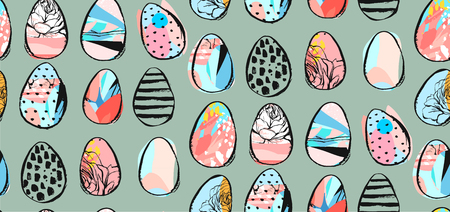 Hand drawn vector abstract seamless pattern with abstract brush drawing Easter eggs.Spring holidays decoration.