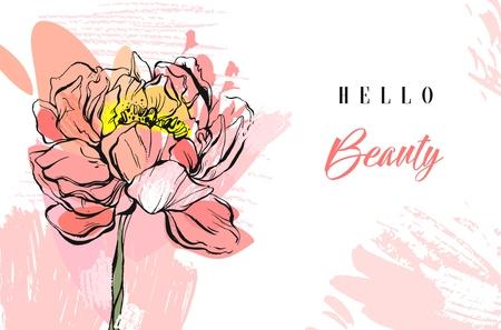 白い背景に分離されたパステル カラーのベクトル春抽象的な創造的な織り目加工コラージュ牡丹の花、フリーハンドのテクスチャとタイポグラフィ   イラスト・ベクター素材
