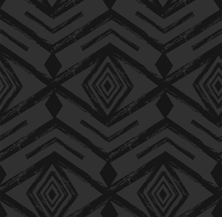 Black tribal Navajo vector seamless pattern with doodle elements. aztec abstract geometric art print. ethnic hipster backdrop. Wallpaper, cloth design, fabric, paper, textile. Hand drawn. Çizim